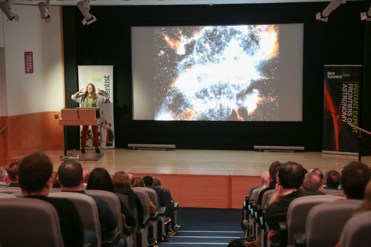 LONDON 28 November 2015. New Scientist Live event at The British Library - Frontiers of Astronomy with Anna Scaife, Christian Killo, Carolin Crawford, Didier Queloz, Carole Mundell and Alan Stern. Moderated by Stuart Clark.